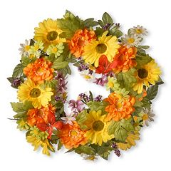 National Tree Company 18' Artificial Daisy Decorative Wreath