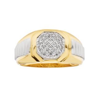 Men's Two Tone Sterling Silver 1/4 Carat T.W. Diamond Octagon Ring