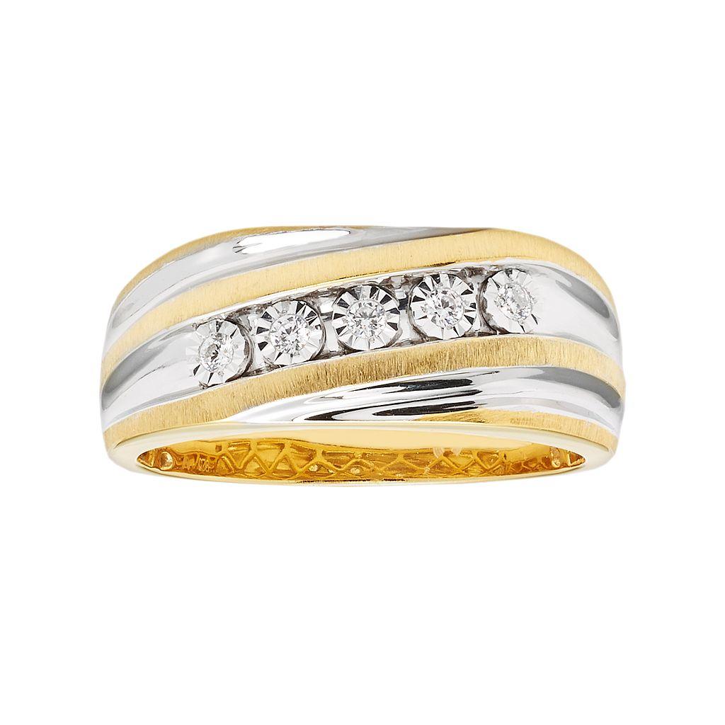 Men's Two Tone Sterling Silver 1/10 Carat T.W. Diamond Ring