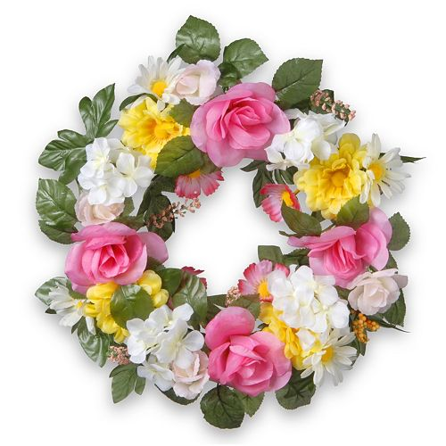 "National Tree Company 18"" Artificial Daisy & Rose Wreath"