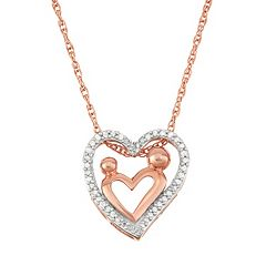 18k Rose Gold Over Silver 1/5 Carat T.W. Diamond Motherly Love Heart Pendant