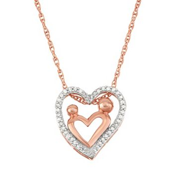 18k Rose Gold Over Silver 1/5 Carat T.W. Diamond Motherly Love Heart Pendant