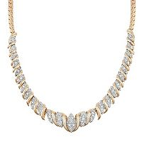 18k Gold Over Silver 1/10 Carat T.W. Diamond Collar Necklace