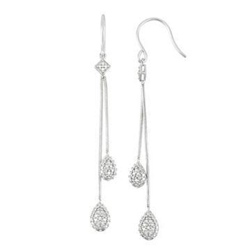 Sterling Silver Diamond Accent Linear Drop Earrings