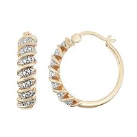 18k Gold Silver 1/10 Carat T.W. Diamond Hoop Earrings