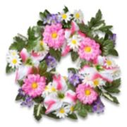 "National Tree Company 18"" Artificial Daisy & Tiger Lily Wreath"