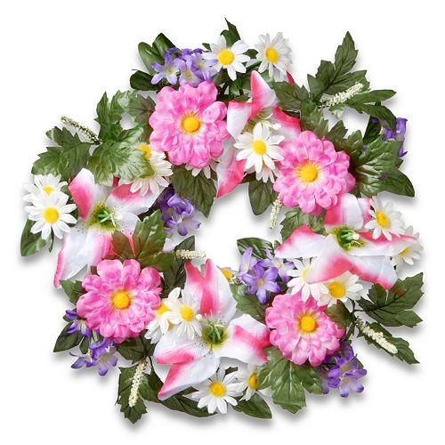 "National Tree Company 18"" Artificial Daisy & Tiger Lily Wreath"