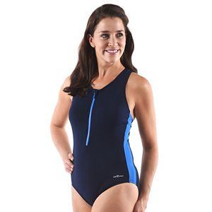 Plus Size Dolfin Zip-Front Racerback One-Piece Swimsuit