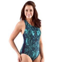 Women's Dolfin Printed Zip-Front Racerback One-Piece Swimsuit