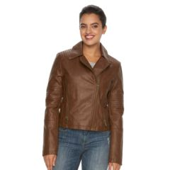 Womens Brown Faux Leather Coats &amp Jackets - Outerwear Clothing