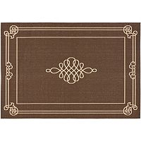 Safavieh Courtyard Scroll Pendant Framed Indoor Outdoor Rug