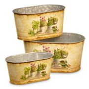 National Tree Company Vintage Painted Galvanized Steel Bin 3 pc Set