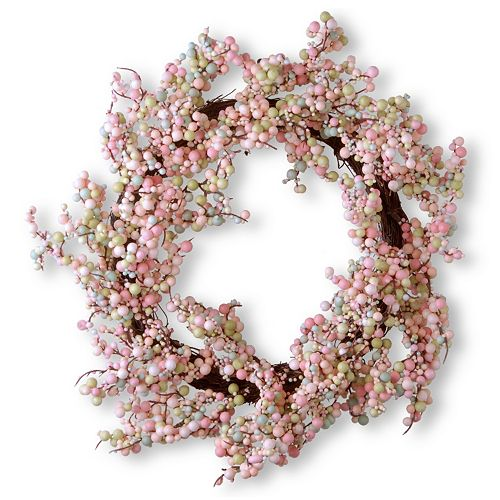 "National Tree Company 16"" Artificial Pink Berry Wreath"