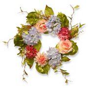 National Tree Company 23' Artificial Hydrangea, Rose & Dahlia Wreath