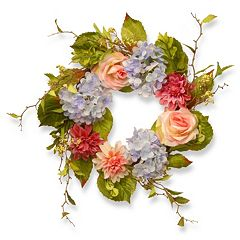 National Tree Company 23' Artificial Hydrangea, Rose & Dahlia Wreath