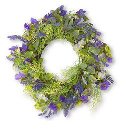 National Tree Company 24' Artificial Purple Flower Wreath