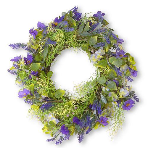 "National Tree Company 24"" Artificial Purple Flower Wreath"