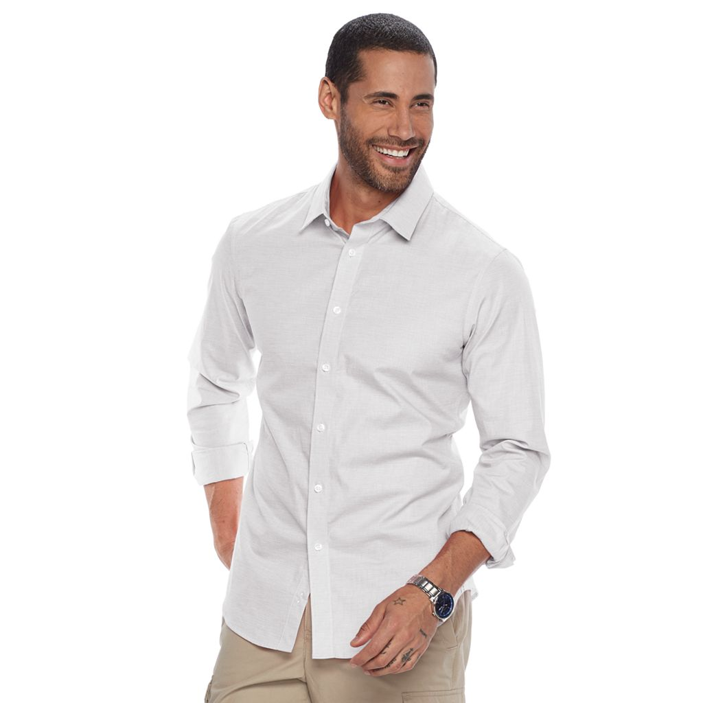 Men's Apt. 9® Slim-Fit Stretch End-On-End Button-Down Shirt
