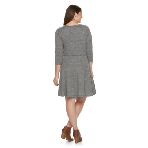 Juniors' Plus Size Cloud Chaser Raw-Edge Henley Sweaterdress