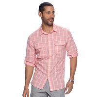 Men's Apt. 9® Modern-Fit Plaid Roll-Tab Button-Down Shirt