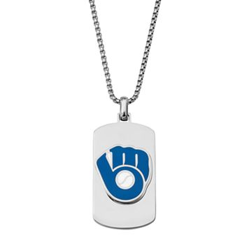 Men's Stainless Steel Milwaukee Brewers Dog Tag Necklace
