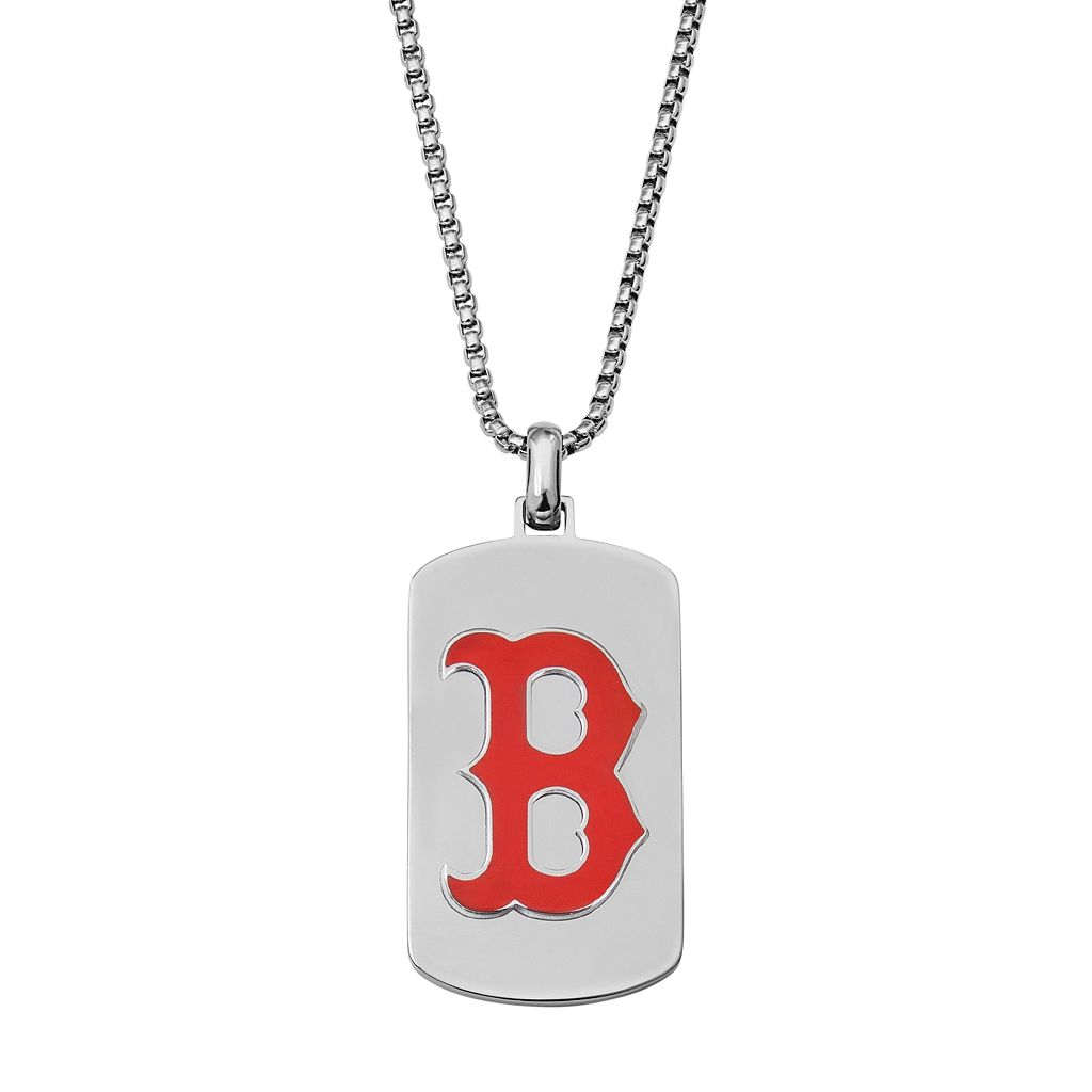 Men's Stainless Steel Boston Red Sox Dog Tag Necklace
