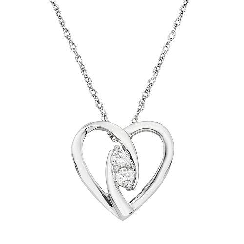 Sterling Silver 1/6 Carat T.W. Diamond 2-Stone Heart Pendant