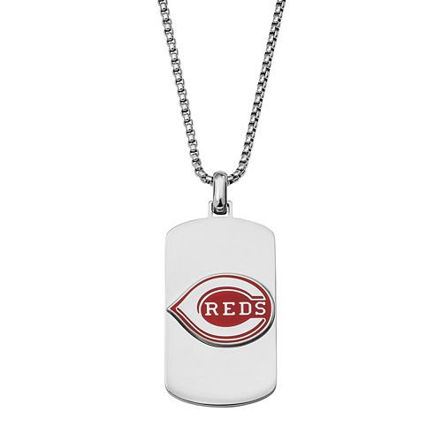 Men's Stainless Steel Cincinnati Reds Dog Tag Necklace