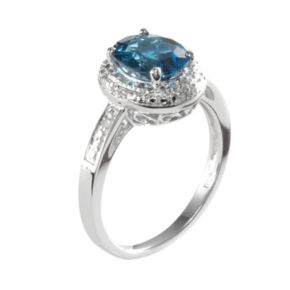Sterling Silver London Blue Topaz & Diamond Accent Square Halo Ring