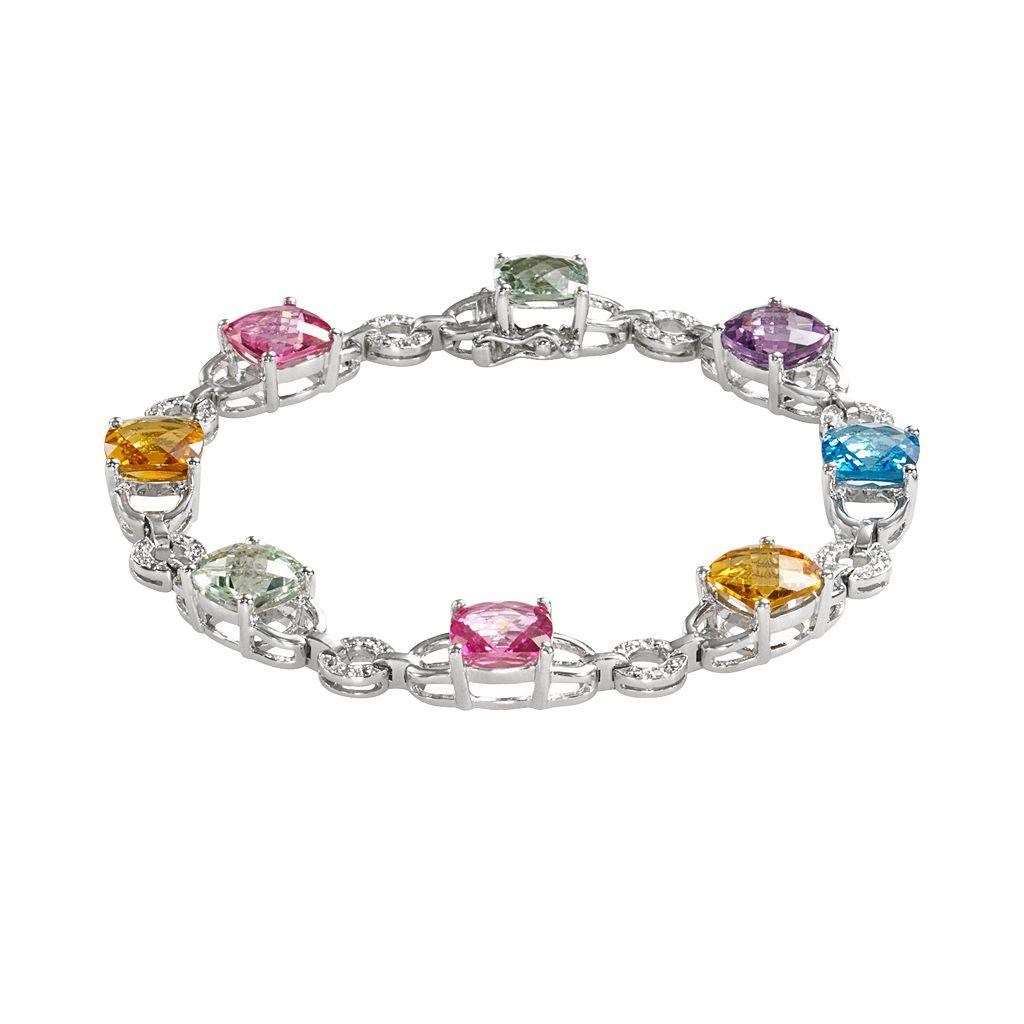 Sterling Silver Gemstone & Diamond Accent Bracelet
