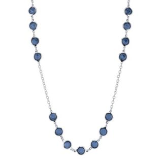 1928 Long Round Faceted Stone Necklace