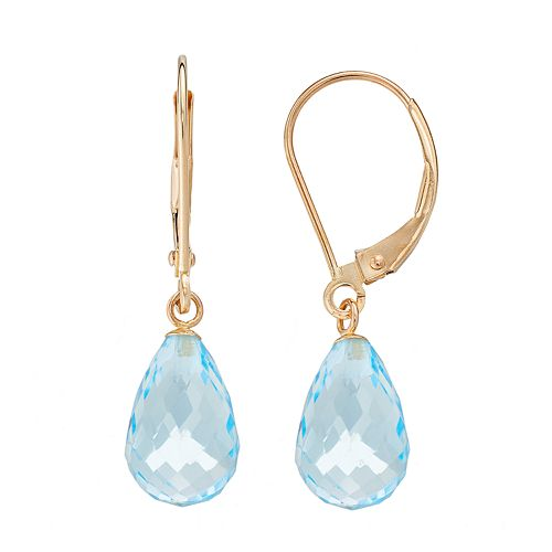 14k Gold Blue Topaz Briolette Drop Earrings