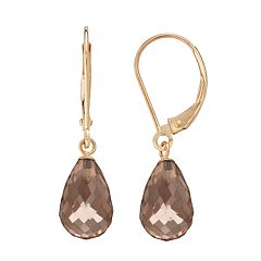 14k Gold Smoky Quartz Briolette Drop Earrings