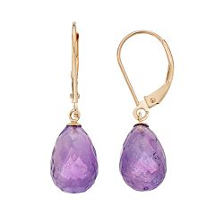 14k Gold Amethyst Briolette Drop Earrings