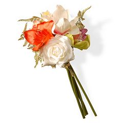 National Tree Company 13' Artificial White Rose Mixed Floral Bouquet