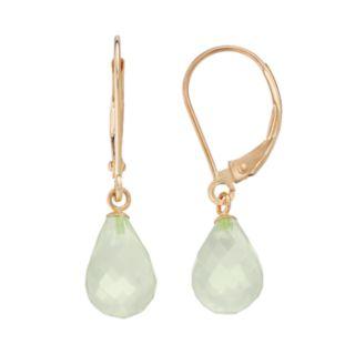 14k Gold Lemon Quartz Briolette Drop Earrings