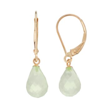14k Gold Lemon Quartz Briolette Drop Earrings