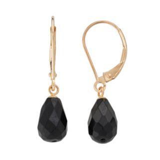 14k Gold Onyx Briolette Drop Earrings