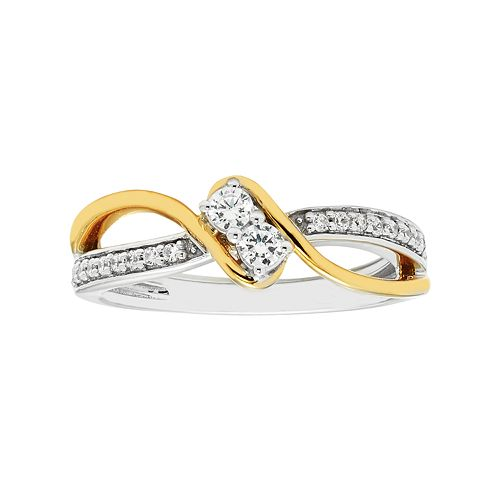 Two Tone 10k Gold 1/4 Carat T.W. Diamond 2-Stone Ring