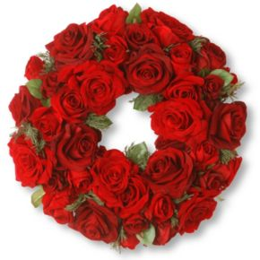 """National Tree Company 15"""" Artificial Velvet Red Rose Wreath"""