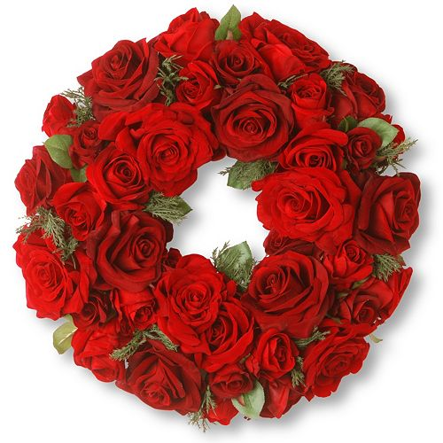 National Tree Company 15″ Artificial Velvet Red Rose Wreath
