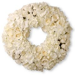 National Tree Company 18' Artificial White Rose & Hydrangea Wreath