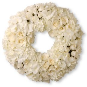 "National Tree Company 18"" Artificial White Rose & Hydrangea Wreath"