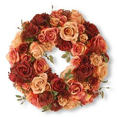 National Tree Company 15' Artificial Mixed Rose Wreath