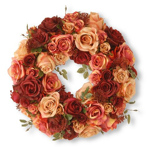 """National Tree Company 15"""" Artificial Mixed Rose Wreath"""