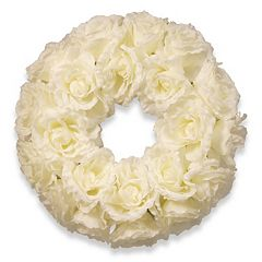 National Tree Company 17' Artificial White Rose Wreath