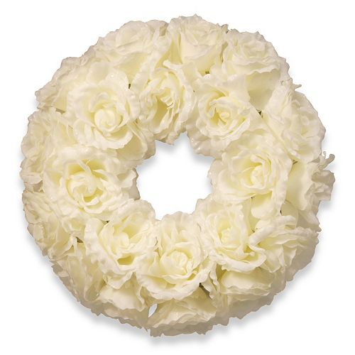 National Tree Company 17 Artificial White Rose Wreath