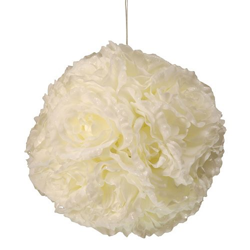 """National Tree Company 9"""" Artificial White Rose Hanging Ball"""