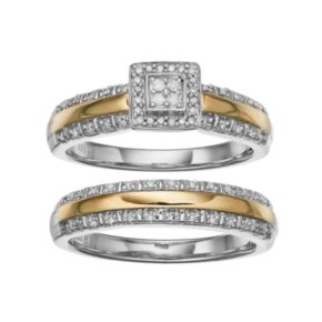 Always YoursTwo Tone Sterling Silver 1/5 Carat T.W. Diamond Square Halo Engagement Ring Set