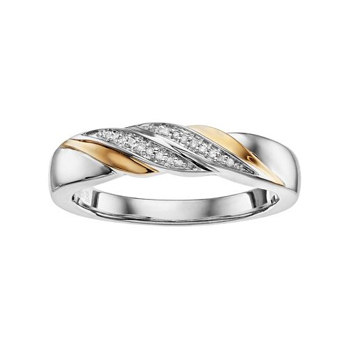 Always Yours Men's Two Tone Sterling Silver Diamond Accent Diagonal Row Wedding Band